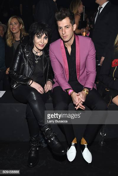 Recording artists Joan Jett and Mark Ronson in Saint Laurent by Hedi Slimane attend Saint Laurent at the Palladium on February 10 2016 in Los Angeles...