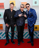 Recording artists Joe Don Rooney Gary LeVox and Jay DeMarcus of Rascal Flatts attend the 51st Academy of Country Music Awards at MGM Grand Garden...