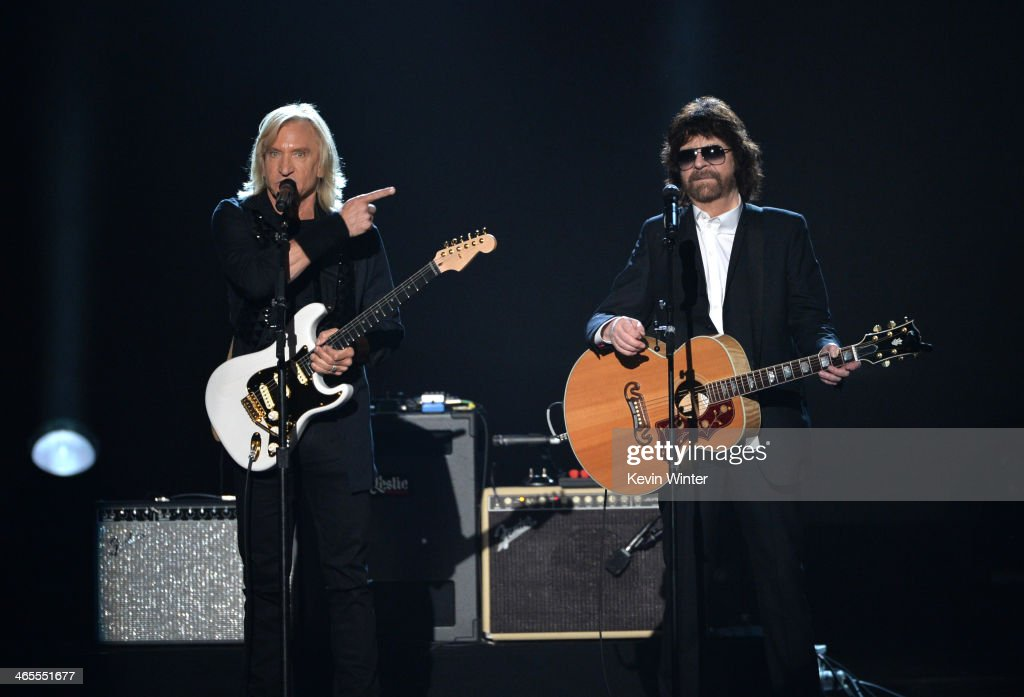 Recording artists <a gi-track='captionPersonalityLinkClicked' href=/galleries/search?phrase=Joe+Walsh+-+Singer&family=editorial&specificpeople=223888 ng-click='$event.stopPropagation()'>Joe Walsh</a> (L) and <a gi-track='captionPersonalityLinkClicked' href=/galleries/search?phrase=Jeff+Lynne&family=editorial&specificpeople=1573357 ng-click='$event.stopPropagation()'>Jeff Lynne</a> perform onstage during 'The Night That Changed America: A GRAMMY Salute To The Beatles' at the Los Angeles Convention Center on January 27, 2014 in Los Angeles, California.
