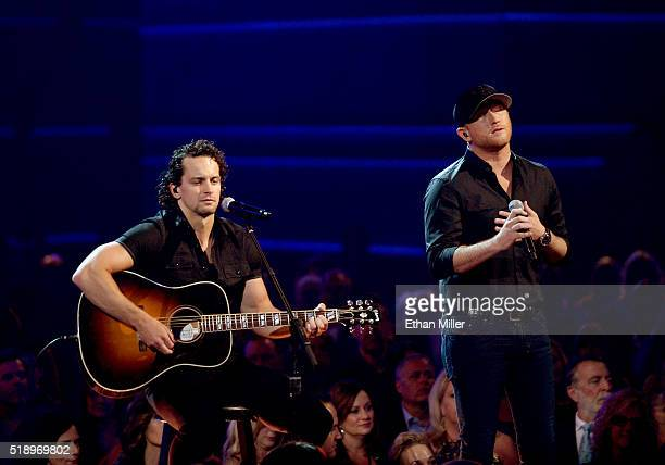 Recording artists Joel Hutsell and Cole Swindell perform onstage during the 51st Academy of Country Music Awards at MGM Grand Garden Arena on April 3...