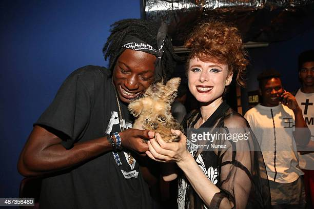 Recording artists Joey Bada$$ and Kiesza backstage at the Island Records Island Life Concert at Best Buy Theater on September 8 in New York City