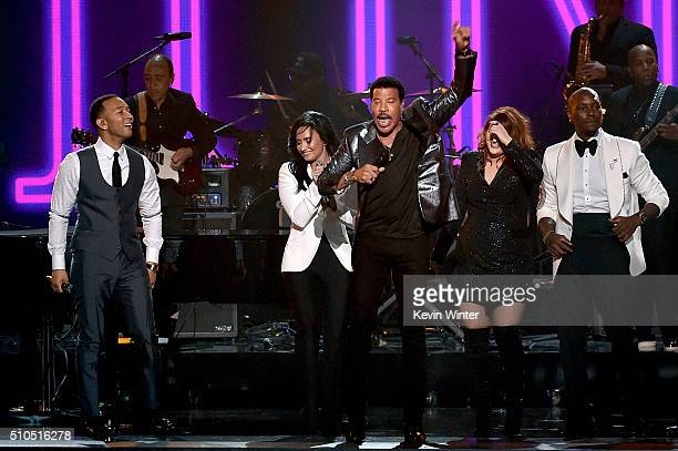 Recording artists John Legend Demi Lovato 2016 MusiCares Person of the Year honoree Lionel Richie recording artists Meghan Trainor and Tyrese Gibson...