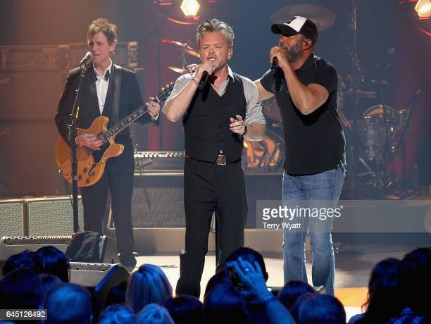 Recording artists John Mellencamp and Darius Rucker perform onstage during CMT Crossroads John Mellencamp and Darius Rucker on February 24 2017 in...