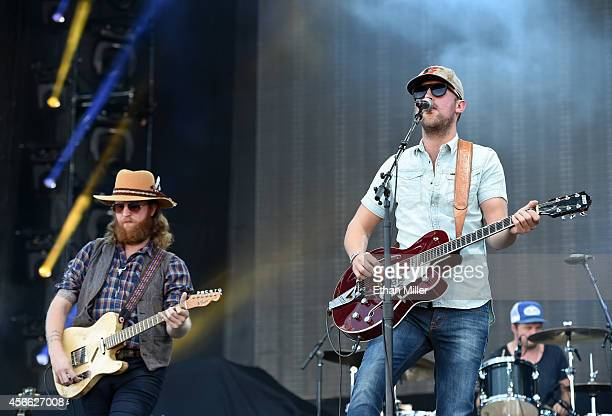 Recording artists John Osborne and TJ Osborne of Brothers Osborne perform during the Route 91 Harvest country music festival at the MGM Resorts...