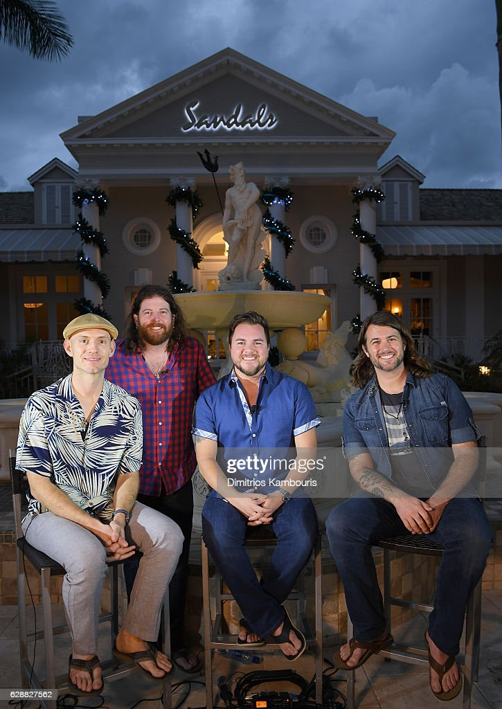 Recording artists Jon Jones, James Young, Mike Eli, and Chris Thompson of Eli Young Band sit down for one on one interviews during CMT Story Behind The Songs LIV + Weekend at Sandals Royal Bahamian Spa Resort & Offshore Island - Day 2 at Sandals Royal Bahamian on December 9, 2016 in Nassau, Bahamas.