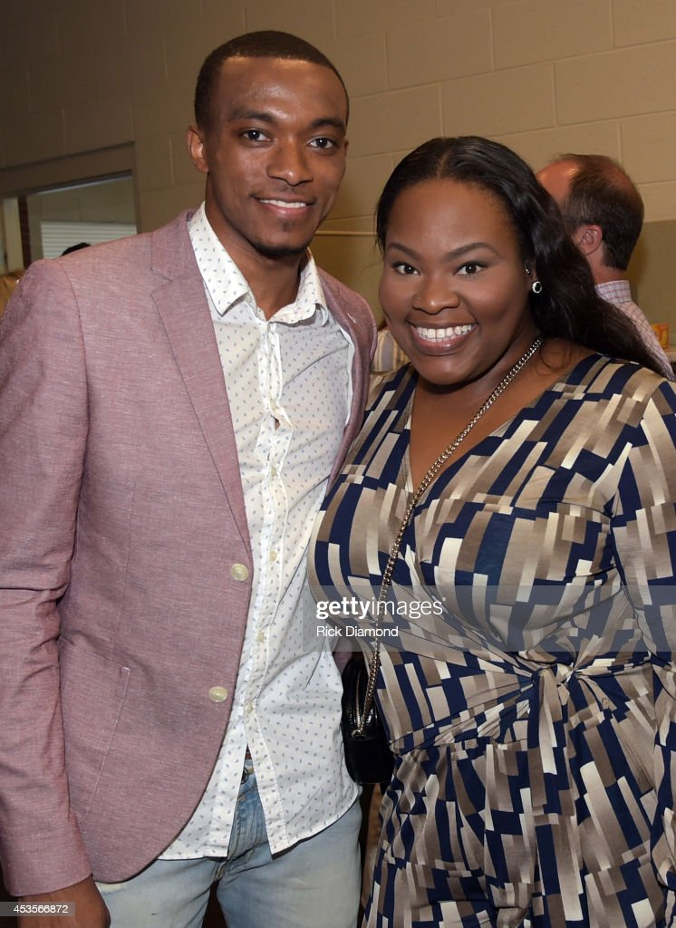 Recording Artists <a gi-track='captionPersonalityLinkClicked' href=/galleries/search?phrase=Jonathan+McReynolds&family=editorial&specificpeople=9842385 ng-click='$event.stopPropagation()'>Jonathan McReynolds</a> and <a gi-track='captionPersonalityLinkClicked' href=/galleries/search?phrase=Tasha+Cobbs&family=editorial&specificpeople=11486733 ng-click='$event.stopPropagation()'>Tasha Cobbs</a> attend the 45th Annual GMA Dove Awards Nominations Press Conference at Allen Arena on Lipscomb University campus, August 13, 2014 in Nashville, Tennessee.