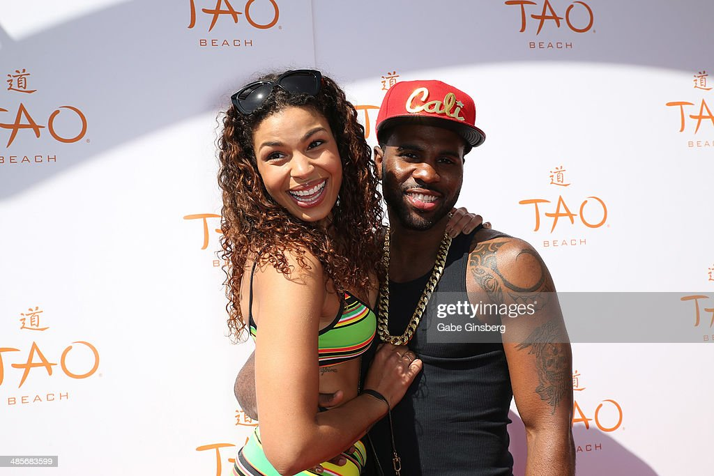 Recording artists <a gi-track='captionPersonalityLinkClicked' href=/galleries/search?phrase=Jordin+Sparks&family=editorial&specificpeople=4165535 ng-click='$event.stopPropagation()'>Jordin Sparks</a> (L) and <a gi-track='captionPersonalityLinkClicked' href=/galleries/search?phrase=Jason+Derulo&family=editorial&specificpeople=5745869 ng-click='$event.stopPropagation()'>Jason Derulo</a> arrive at the grand opening of Tao Beach season at the Tao Beach at The Venetian Las Vegas on April 19, 2014 in Las Vegas, Nevada.