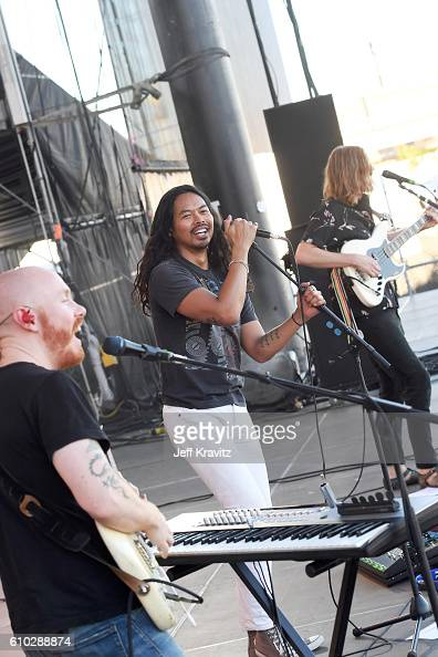 Recording artists Joseph Greer Dougy Mandagi and Jonathon Aherne of The Temper Trap perform onstage during day 2 of the Life Is Beautiful festival on...