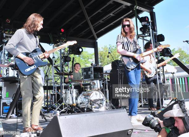 Recording artists Josh Dewhurst Joe Donovan Tom Ogden and Charlie Salt of Blossoms perform onstage at Who Stage during Day 2 of the 2017 Bonnaroo...