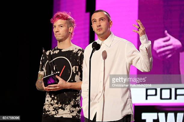 Recording artists Josh Dun and Tyler Joseph of Twenty One Pilots accept the Favorite Duo or Group award onstage the 2016 American Music Awards at...