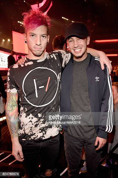 Recording artists Josh Dun and Tyler Joseph of Twenty One Pilots attend the 2016 American Music Awards at Microsoft Theater on November 20 2016 in...