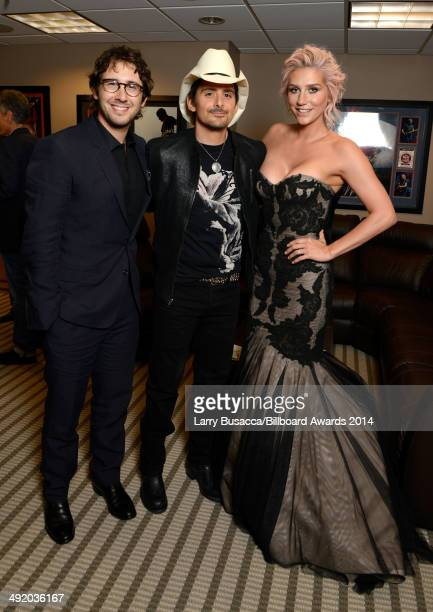 Recording artists Josh Groban Brad Paisley and Kesha attend the 2014 Billboard Music Awards at the MGM Grand Garden Arena on May 18 2014 in Las Vegas...