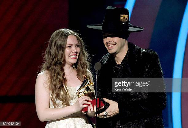 Recording artists Joy Huerta and Jesse Huerta of Jesse y Joy accept Best Contemporary Pop Vocal Album for 'Un Besito Mas' onstage during The 17th...