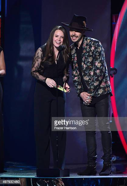 Recording artists Joy Huerta and Jesse Huerta of music group Jesse y Joy speak onstage during the 16th Latin GRAMMY Awards at the MGM Grand Garden...