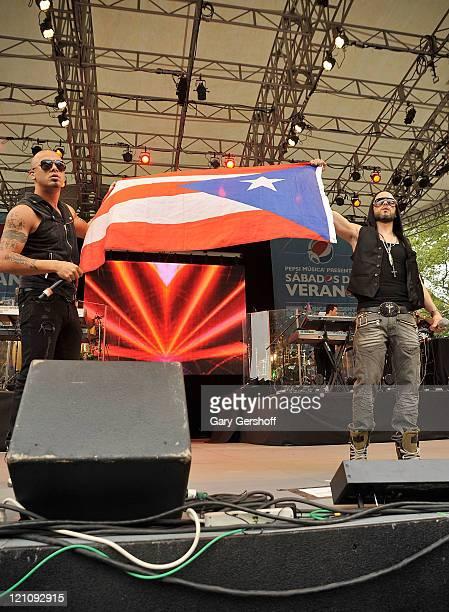 Recording artists Juan Luis Morera Luna and Llandel Veguilla Malave of Wisin Yandel peform live at Pepsi Musica's Sabados de Verano Presents Wisin...