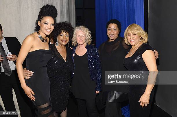 Recording artists Judith Hill Merry Clayton honoree Carole King recording artists Lisa Fischer and Darlene Love attend 2014 MusiCares Person Of The...