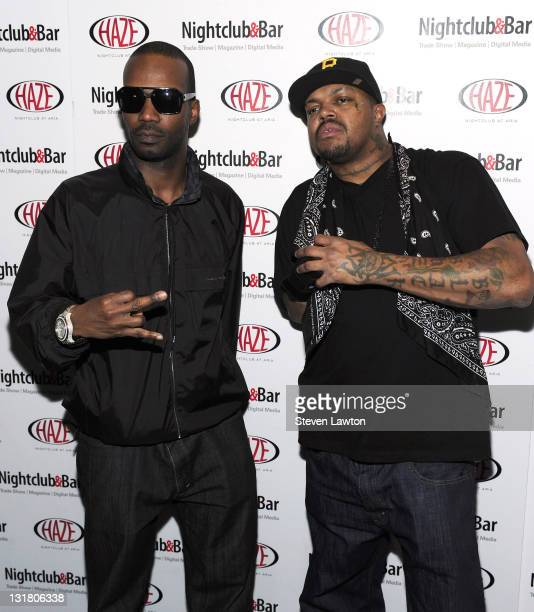Recording artists Juicy J and DJ Paul from Three6 Mafia arrive to perform at Haze Nightclub at the Aria Resort Casino at CityCenter on March 7 2011...