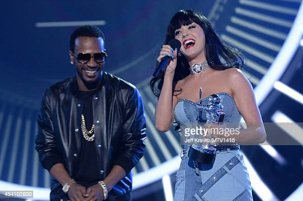 Recording artists Juicy J and Katy Perry onstage during the 2014 MTV Video Music Awards at The Forum on August 24 2014 in Inglewood California