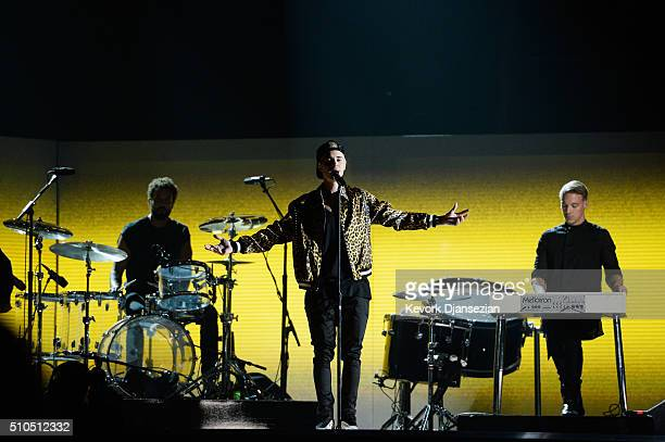 Recording artists Justin Bieber and Diplo perform onstage during The 58th GRAMMY Awards at Staples Center on February 15 2016 in Los Angeles...
