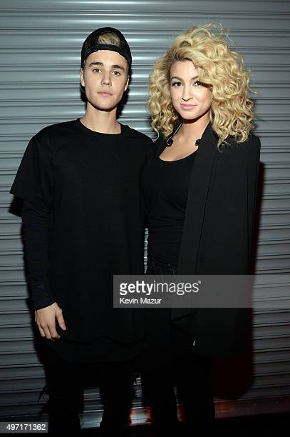 Recording artists Justin Bieber and Tori Kelly attend the 2015 Nickelodeon HALO Awards at Pier 36 on November 14 2015 in New York City