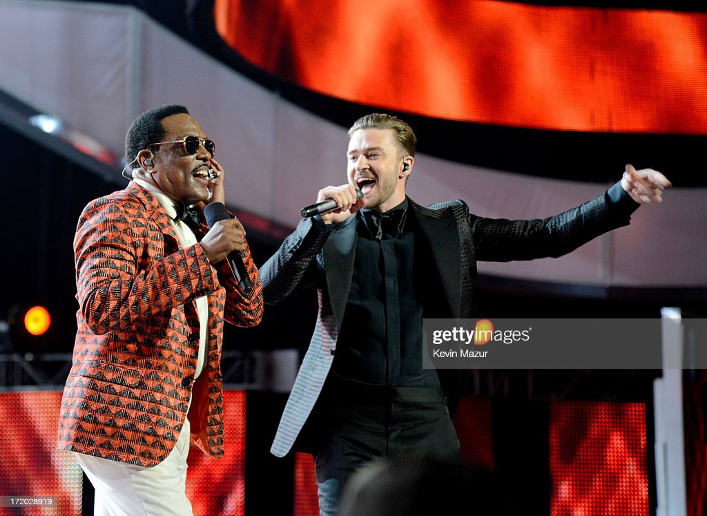 Recording artists <a gi-track='captionPersonalityLinkClicked' href=/galleries/search?phrase=Justin+Timberlake&family=editorial&specificpeople=157482 ng-click='$event.stopPropagation()'>Justin Timberlake</a> (R) and Charlie Wilson perform onstage during the 2013 BET Awards at Nokia Theatre L.A. Live on June 30, 2013 in Los Angeles, California.