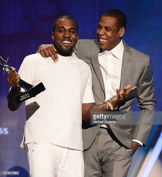 Recording artists Kanye West and JayZ accept the Best Group Award onstage during the 2012 BET Awards at The Shrine Auditorium on July 1 2012 in Los...