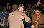 Recording artists Kanye West Taylor Swift and TV personality Kim Kardashian during the 2015 MTV Video Music Awards at Microsoft Theater on August 30...