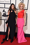 Recording artists Karen Fairchild and Kimberly Schlapman of music group Little Big Town attends The 58th GRAMMY Awards at Staples Center on February...