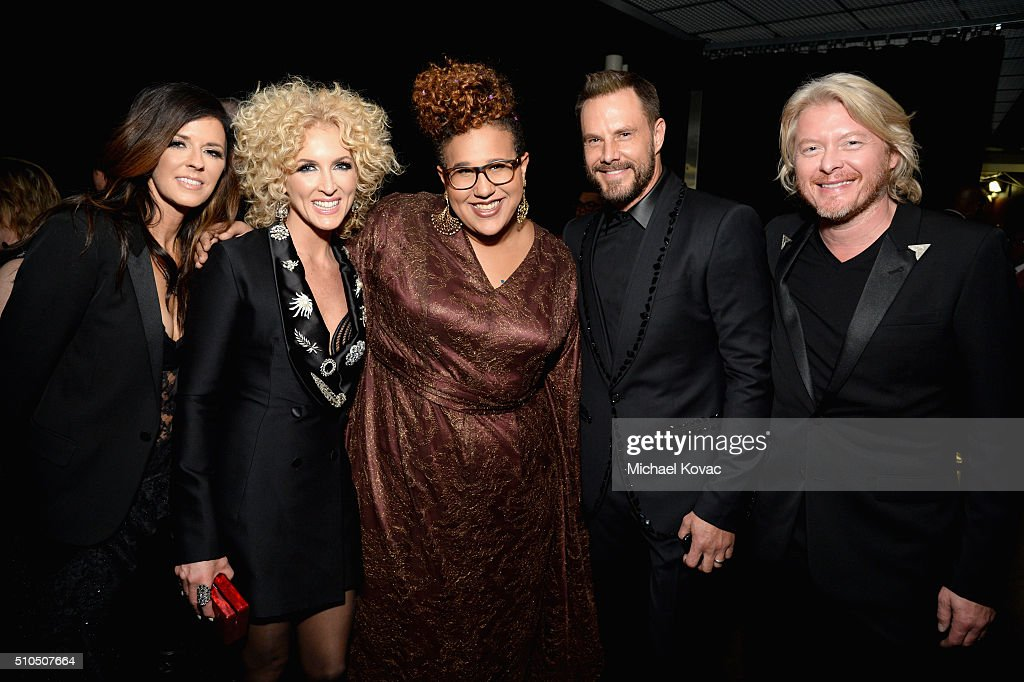 Recording artists Karen Fairchild Kimberly Schlapman Brittany Howard Jimi Westbrook and Phillip Sweet attends The 58th GRAMMY Awards at Staples...