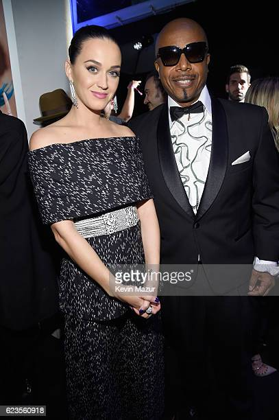 Recording artists Katy Perry and MC Hammer attend Hollywood Gala celebrating Capitol Records 75th Anniversary on November 15 2016 in Los Angeles...