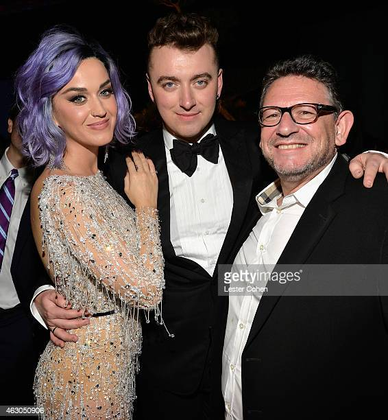 Recording artists Katy Perry and Sam Smith and Chairman CEO UMG Lucian Grainge attend Universal Music Group 2015 Grammy After Party presented by...