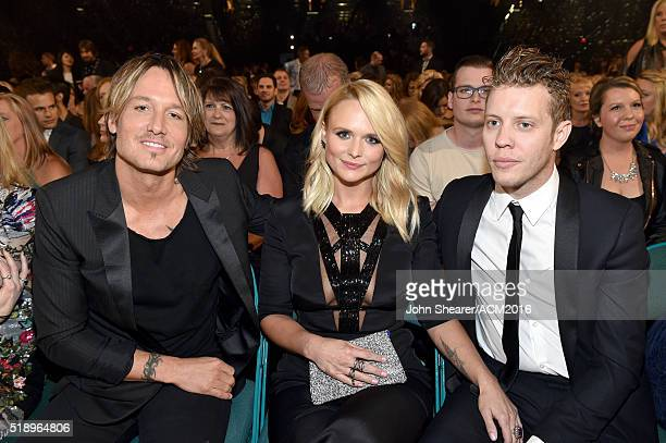 Recording artists Keith Urban Miranda Lambert and Anderson East attend the 51st Academy of Country Music Awards at MGM Grand Garden Arena on April 3...