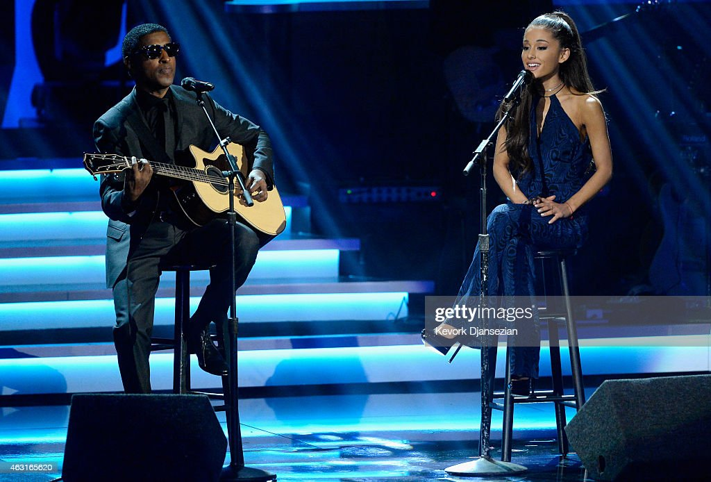 Recording artists Kenneth 'Babyface' Edmonds and Ariana Grande perform onstage during Stevie Wonder Songs In The Key Of Life An AllStar GRAMMY Salute...