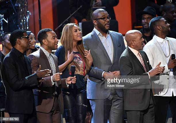 Recording artists Kenneth 'Babyface' Edmonds John Legend Beyonce director/actor Tyler Perry music executive Berry Gordy and recording artist Jason...