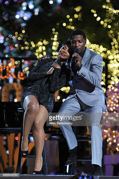 Recording artists Kenny 'Babyface' Edmonds and Toni Braxton perform on stage during The Grove's 11th annual Christmas Tree Lighting Spectacular at...