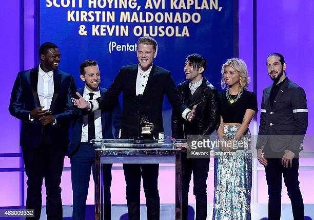 Recording artists Kevin Olusola Ben Bram Scott Hoying Mitch Grass Kirstie Maldonado and Avi Kaplan of Pentatonix speak onstage during the The 57th...