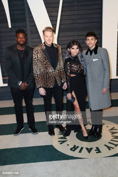 Recording artists Kevin Olusola Scott Hoying Kirstie Maldonado and Mitch Grassi of music group Pentatonix attend the 2017 Vanity Fair Oscar Party...