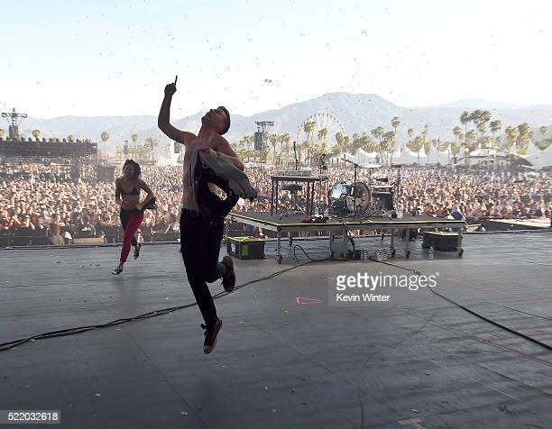 Recording artists Kim Schifino and Matt Johnson of Matt and Kim perform onstage during day 3 of the 2016 Coachella Valley Music And Arts Festival...