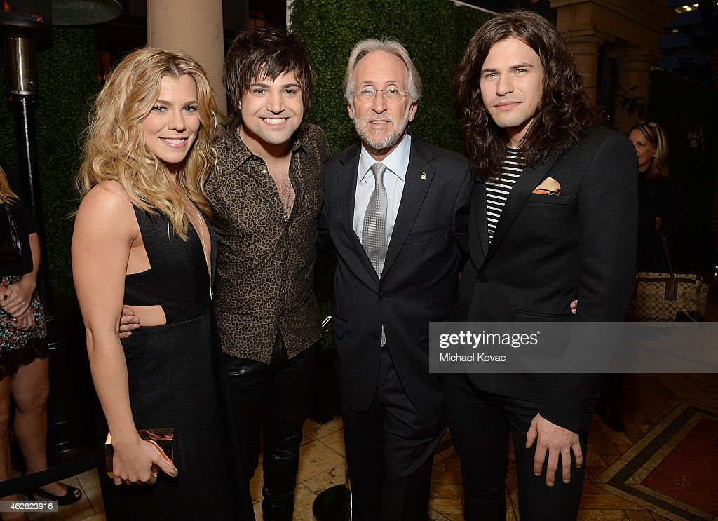 Recording artists Kimberly Perry, Neil Perry, National Academy of Recording Arts and Sciences President Neil Portnow, and recording artist Reid Perry attend the Billboard Power 100 Event on February 5, 2015 in Los Angeles, California.
