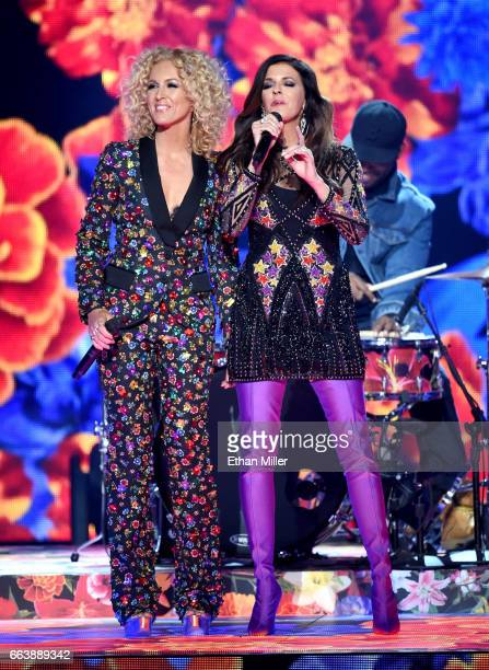Recording artists Kimberly Schlapman and Karen Fairchild of music group Little Big Town perform onstage during the 52nd Academy of Country Music...