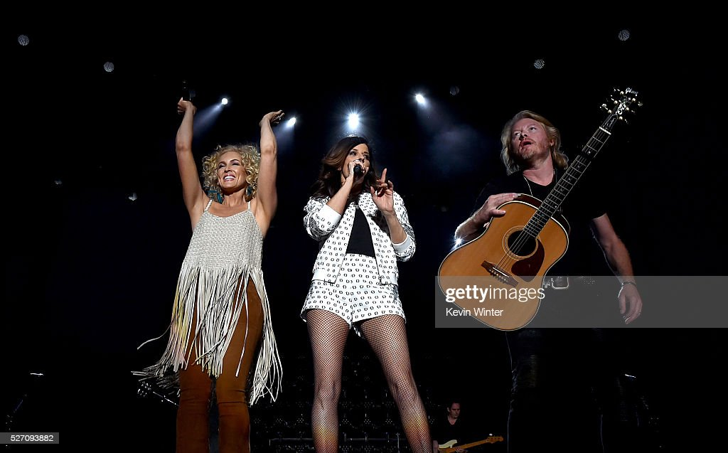 Recording artists Kimberly Schlapman, Karen Fairchild and Philip Sweet of Little Big Town perform onstage during 2016 Stagecoach California's Country Music Festival at Empire Polo Club on May 01, 2016 in Indio, California.