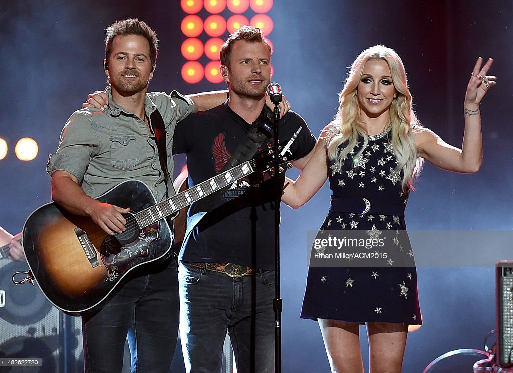 Recording artists Kip Moore, Dierks Bentley and Ashley Monroe perform during ACM Presents: Superstar Duets at Globe Life Park in Arlington on April 17, 2015 in Arlington, Texas.