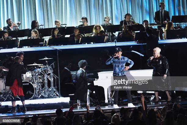 Recording artists Kirk Franklin Chance the Rapper and Tamela Mann perform onstage during The 59th GRAMMY Awards at STAPLES Center on February 12 2017...