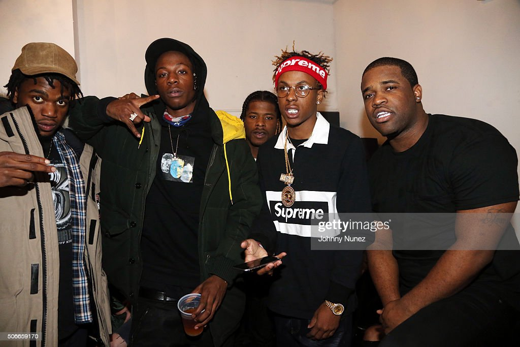 Recording artists Kirk Knight Joey Bada$$ Marty Baller Rich Kid and A$AP Ferg backstage at Terminal 5 on January 24 in New York City