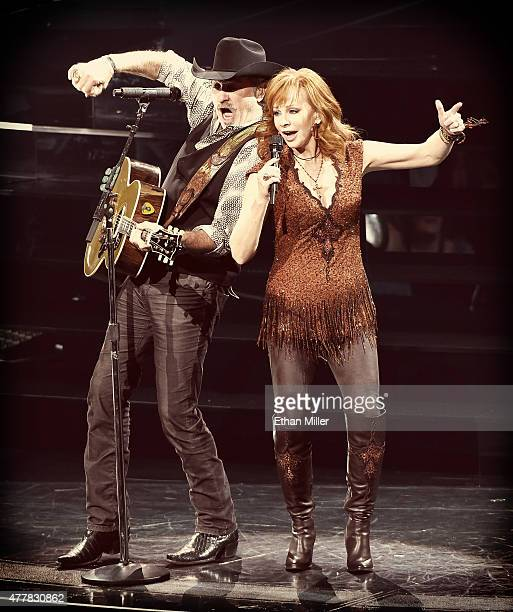 Recording artists Kix Brooks and Reba McEntire perform during the opening weekend of their residency 'Reba Brooks Dunn Together in Vegas' with Ronnie...