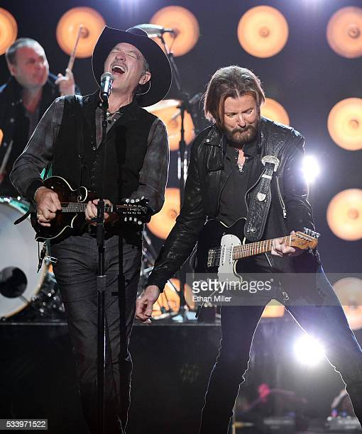 Recording artists Kix Brooks and Ronnie Dunn of Brooks Dunn perform during the 2016 American Country Countdown Awards at The Forum on May 1 2016 in...