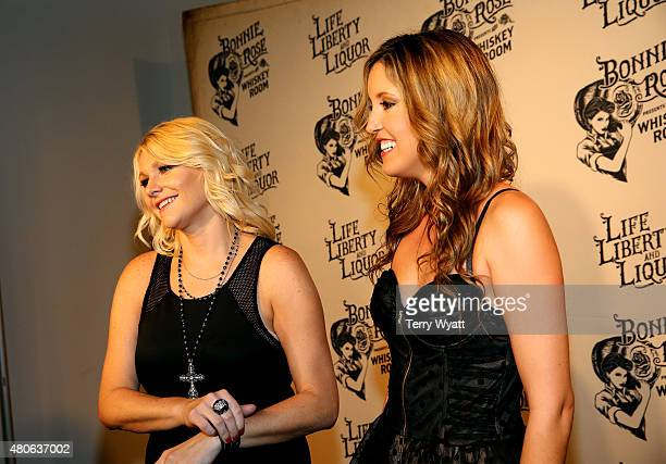 Recording artists Kristen Kuiper and Skye Claire of Whiskey Rose attend the product launch of Bonnie Rose a new Tennessee white whiskey on July 13...