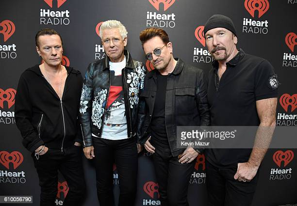 Recording artists Larry Mullen Jr Adam Clayton Bono and The Edge of music group U2 pose at the 2016 iHeartRadio Music Festival at TMobile Arena on...
