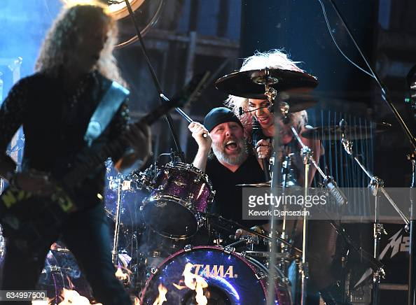 Recording artists Lars Ulrich and Lady Gaga perform onstage during The 59th GRAMMY Awards at STAPLES Center on February 12 2017 in Los Angeles...