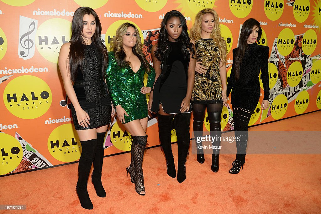 Recording artists Lauren Jauregui, Ally Brooke, Normani Hamilton, Dinah Jane Hansen and Camila Cabello of Fifth Harmony attend the 2015 Nickelodeon HALO Awards at Pier 36 on November 14, 2015 in New York City.